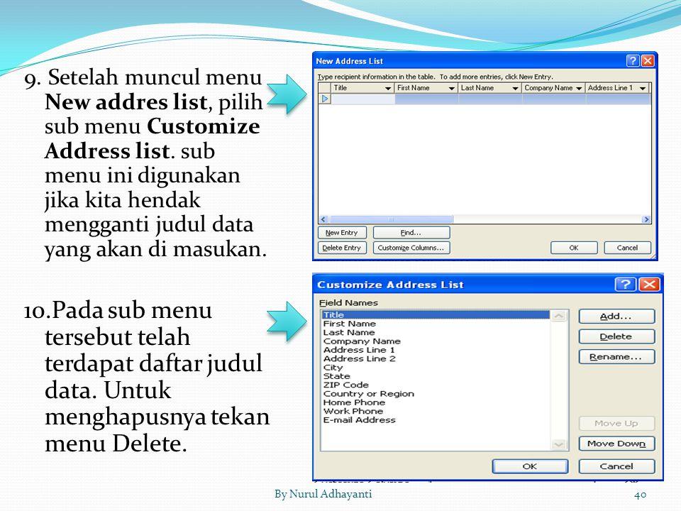 By Nurul Adhayanti40 9. Setelah muncul menu New addres list, pilih sub menu Customize Address list. sub menu ini digunakan jika kita hendak mengganti