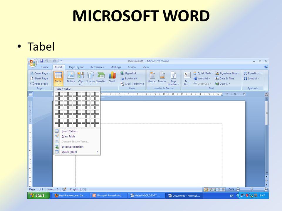 MICROSOFT WORD Tabel