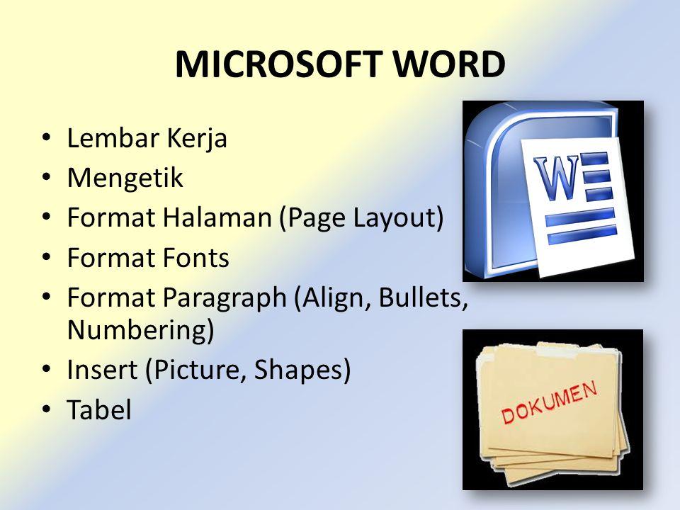 MICROSOFT WORD Lembar Kerja Mengetik Format Halaman (Page Layout) Format Fonts Format Paragraph (Align, Bullets, Numbering) Insert (Picture, Shapes) Tabel