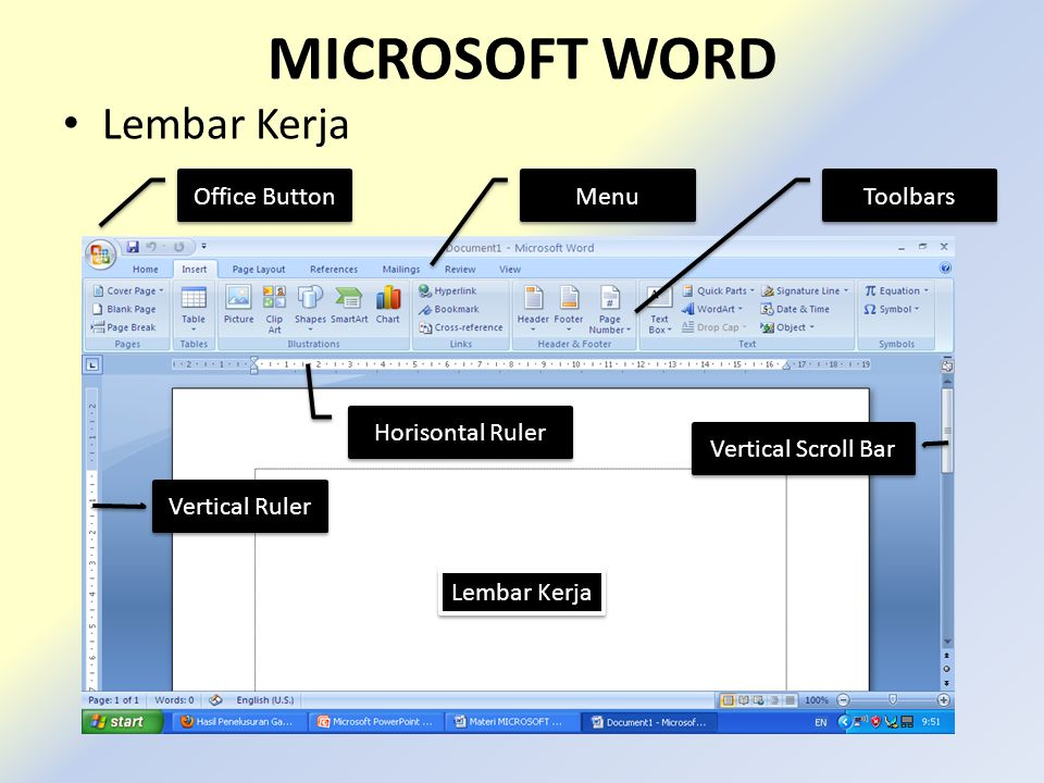 MICROSOFT WORD Lembar Kerja Office Button Menu Toolbars Lembar Kerja Vertical Ruler Horisontal Ruler Vertical Scroll Bar