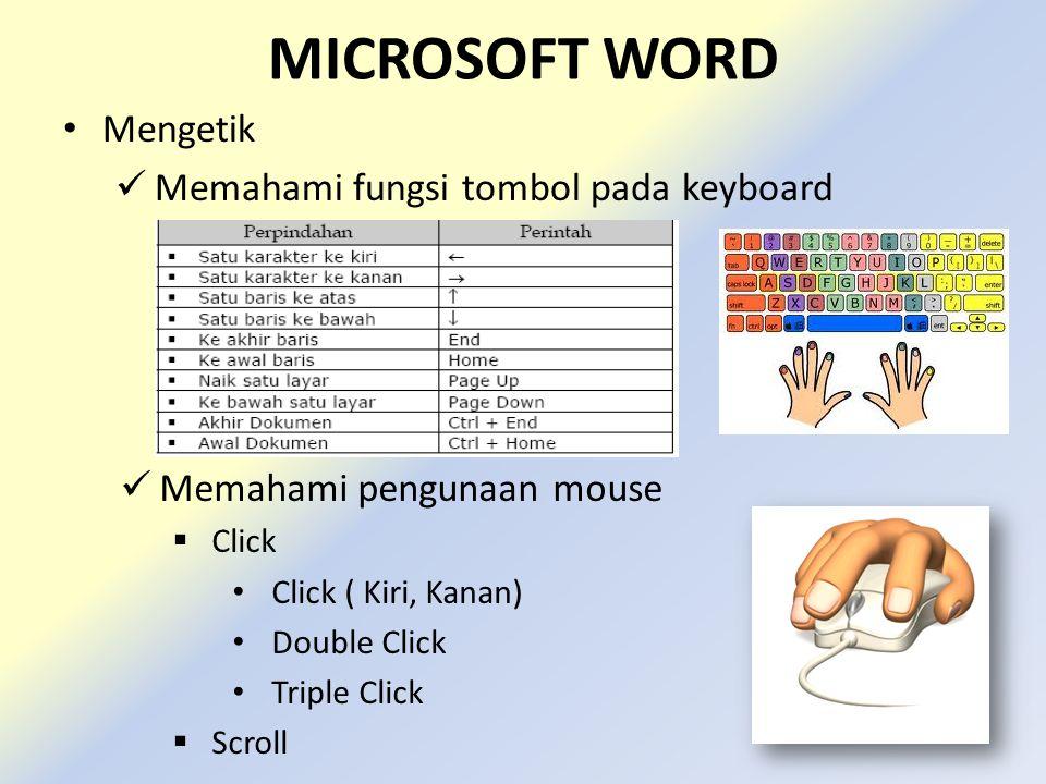 MICROSOFT WORD Mengetik Memahami fungsi tombol pada keyboard Memahami pengunaan mouse  Click Click ( Kiri, Kanan) Double Click Triple Click  Scroll