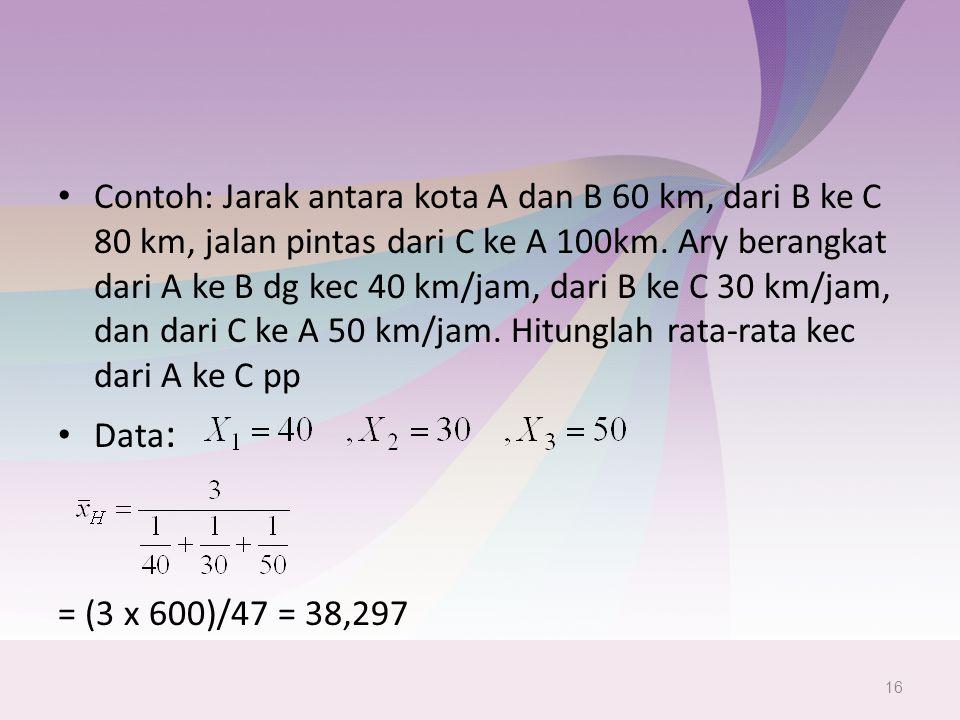 Contoh: Jarak antara kota A dan B 60 km, dari B ke C 80 km, jalan pintas dari C ke A 100km.