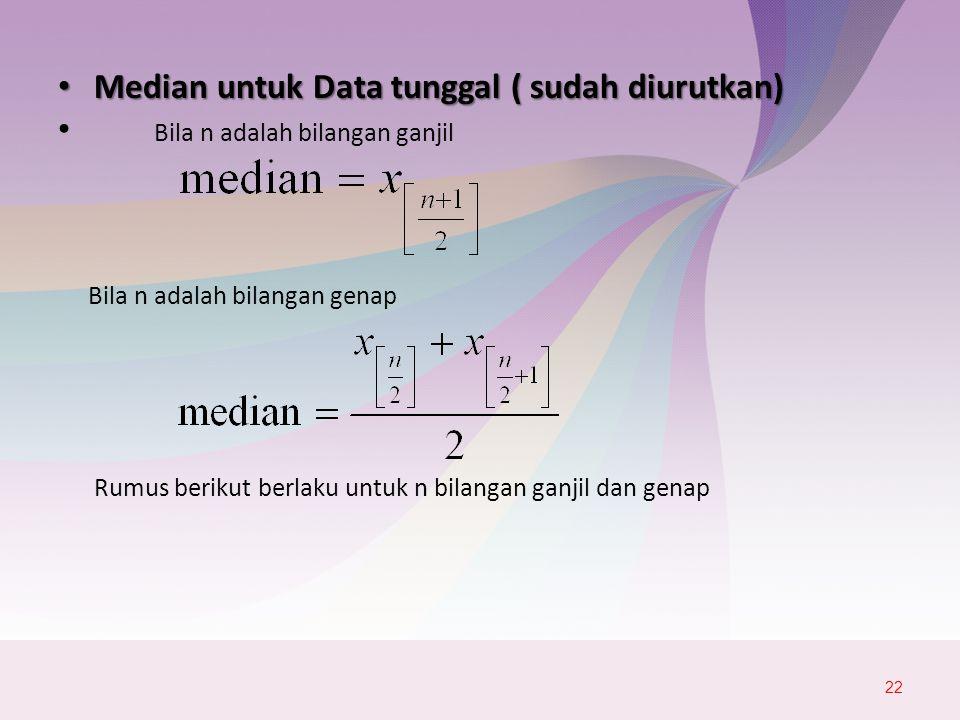 Median untuk Data tunggal ( sudah diurutkan) Median untuk Data tunggal ( sudah diurutkan) Bila n adalah bilangan ganjil Bila n adalah bilangan genap Rumus berikut berlaku untuk n bilangan ganjil dan genap 22