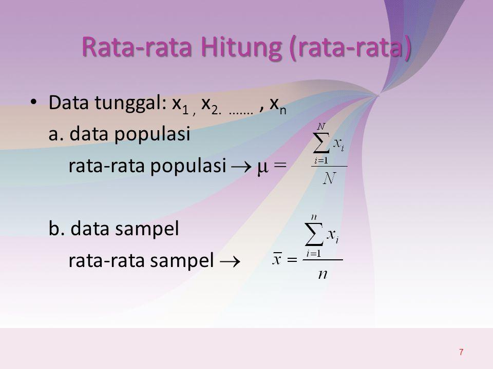 Rata-rata Hitung (rata-rata) Data tunggal: x 1, x 2........, x n a.