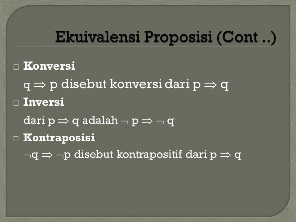  Konversi q  p disebut konversi dari p  q  Inversi dari p  q adalah  p   q  Kontraposisi  q   p disebut kontrapositif dari p  q