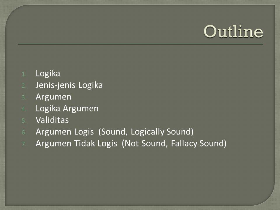 1. Logika 2. Jenis-jenis Logika 3. Argumen 4. Logika Argumen 5.