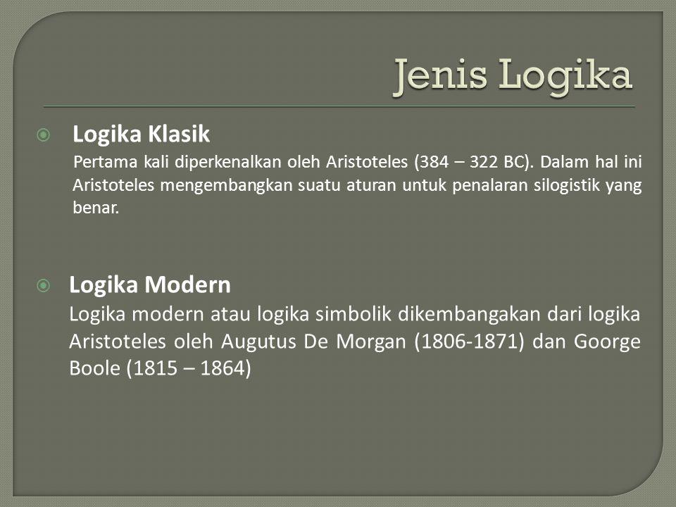  Logika Klasik Pertama kali diperkenalkan oleh Aristoteles (384 – 322 BC).