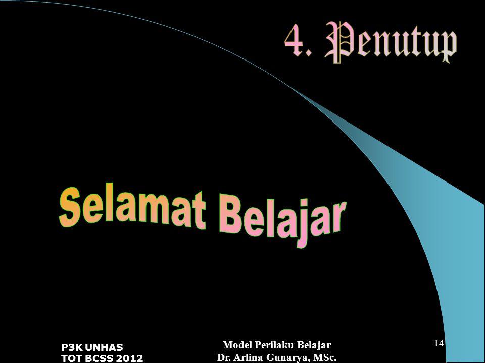 Model Perilaku Belajar Dr. Arlina Gunarya, MSc. P3K UNHAS TOT BCSS 2012 14