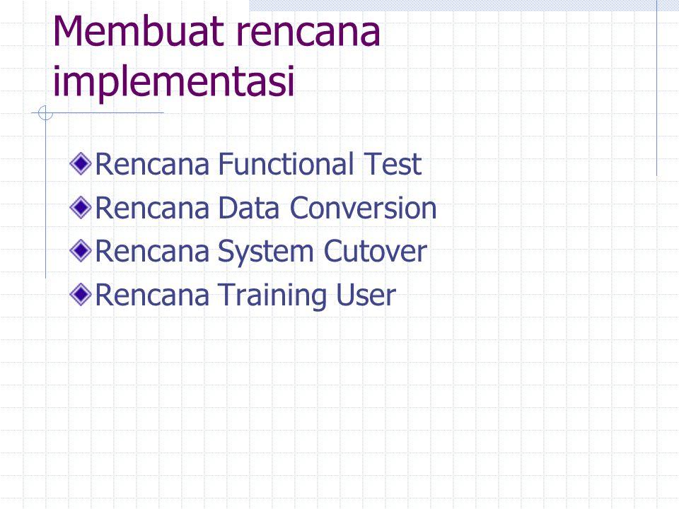 Diagram Rencana Implementasi 12 Perancangan Software (16) Pemrograman Software (7) 6 Software Testing (18) 89 Sistem Testing (6) 5 Set Dokumentasi Standards (1) 4 Menyiapkan Tempat (10) 7 Instalasi Alat (10) 3 Memilih Personal (3) Melatih Personal (11) 10 Sistem Konversi (6) 11 Review Post Implementasi (6) Menyiapkan Dokumentasi (18)