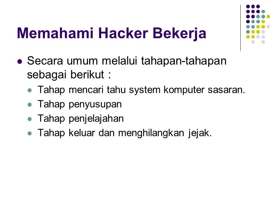 Memahami Hacker Bekerja Secara umum melalui tahapan-tahapan sebagai berikut : Tahap mencari tahu system komputer sasaran. Tahap penyusupan Tahap penje