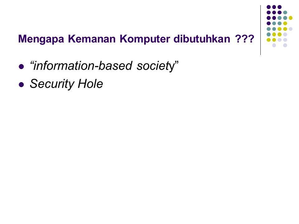 "Mengapa Kemanan Komputer dibutuhkan ??? ""information-based society"" Security Hole"
