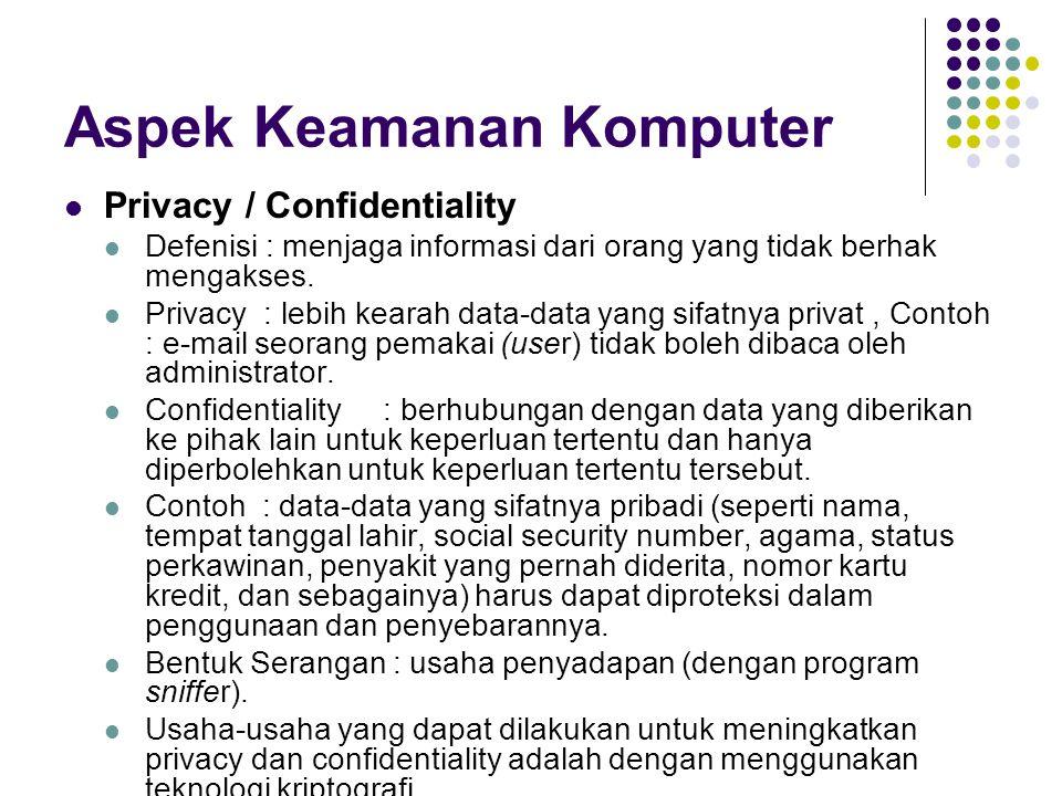 Aspek Keamanan Komputer Privacy / Confidentiality Defenisi : menjaga informasi dari orang yang tidak berhak mengakses. Privacy : lebih kearah data-dat