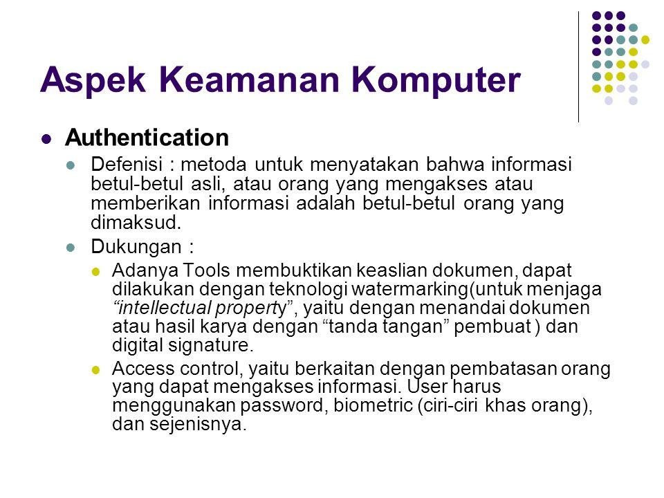 Aspek Keamanan Komputer Availability Defenisi : berhubungan dengan ketersediaan informasi ketika dibutuhkan.