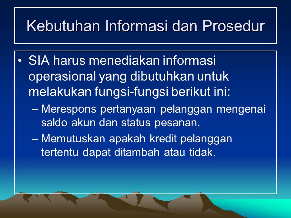 Kebutuhan Informasi dan Prosedur SIA harus menediakan informasi operasional yang dibutuhkan untuk melakukan fungsi-fungsi berikut ini: –Merespons pert