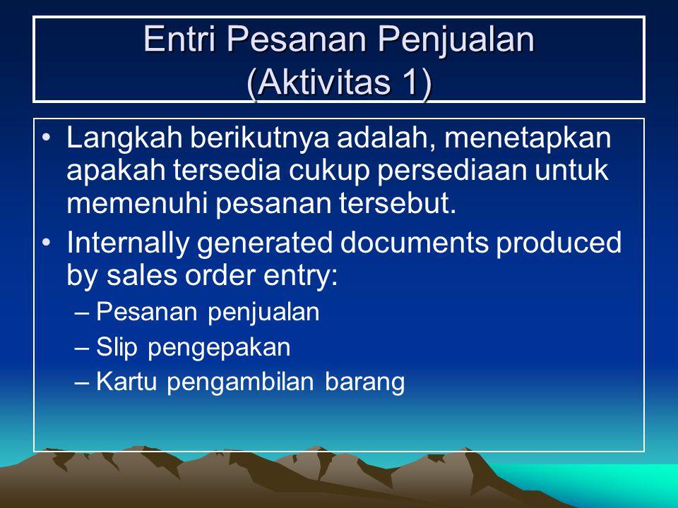 Entri Pesanan Penjualan (Aktivitas 1) Langkah berikutnya adalah, menetapkan apakah tersedia cukup persediaan untuk memenuhi pesanan tersebut. Internal