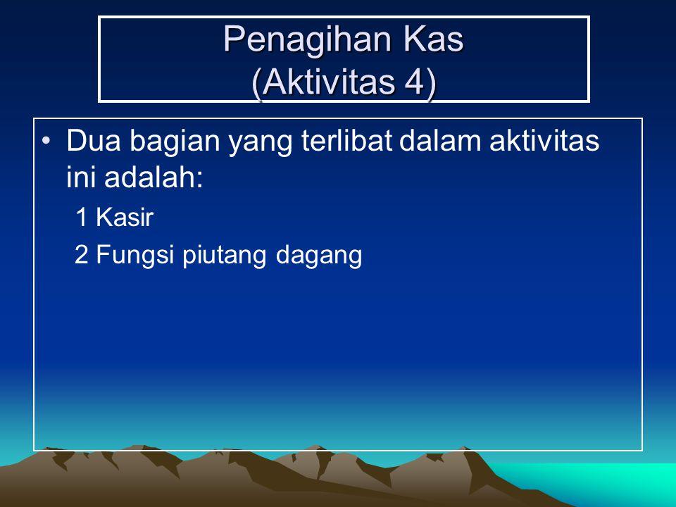 Penagihan Kas (Aktivitas 4) Dua bagian yang terlibat dalam aktivitas ini adalah: 1Kasir 2Fungsi piutang dagang