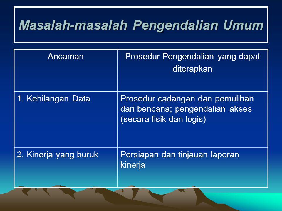 Masalah-masalah Pengendalian Umum AncamanProsedur Pengendalian yang dapat diterapkan 1. Kehilangan DataProsedur cadangan dan pemulihan dari bencana; p