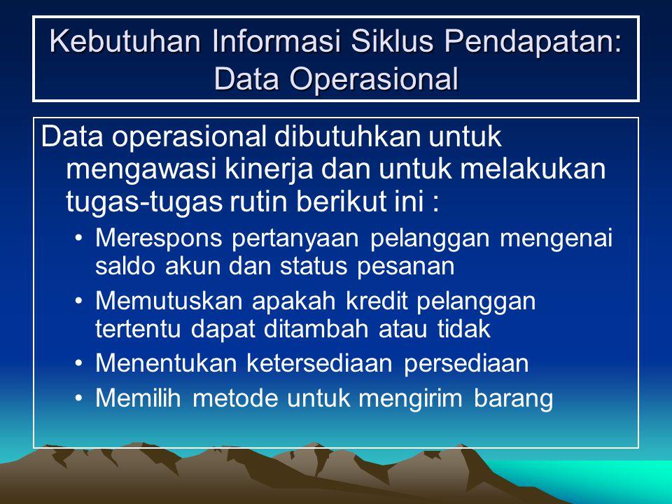 Kebutuhan Informasi Siklus Pendapatan: Data Operasional Data operasional dibutuhkan untuk mengawasi kinerja dan untuk melakukan tugas-tugas rutin beri