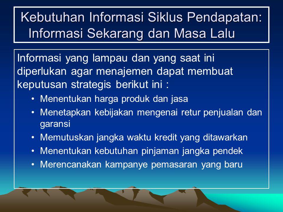 Kebutuhan Informasi Siklus Pendapatan: Informasi Sekarang dan Masa Lalu Informasi yang lampau dan yang saat ini diperlukan agar menajemen dapat membua