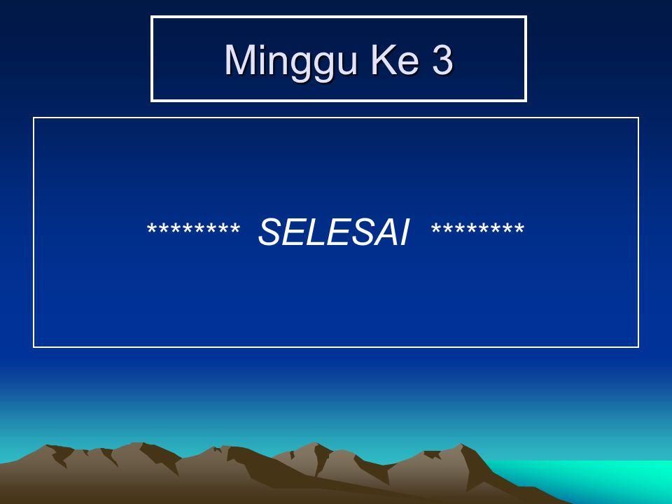 Minggu Ke 3 ******** SELESAI ********