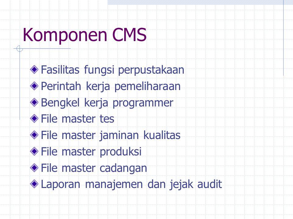 Komponen CMS Fasilitas fungsi perpustakaan Perintah kerja pemeliharaan Bengkel kerja programmer File master tes File master jaminan kualitas File mast