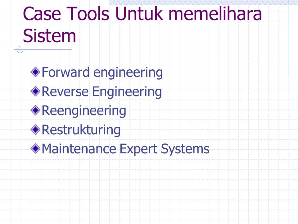 Case Tools Untuk memelihara Sistem Forward engineering Reverse Engineering Reengineering Restrukturing Maintenance Expert Systems