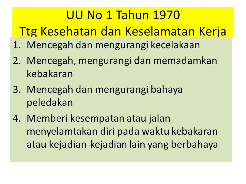 UU No 1 Tahun 1970 Ttg Kesehatan dan Keselamatan Kerja 1.Mencegah dan mengurangi kecelakaan 2.Mencegah, mengurangi dan memadamkan kebakaran 3.Mencegah