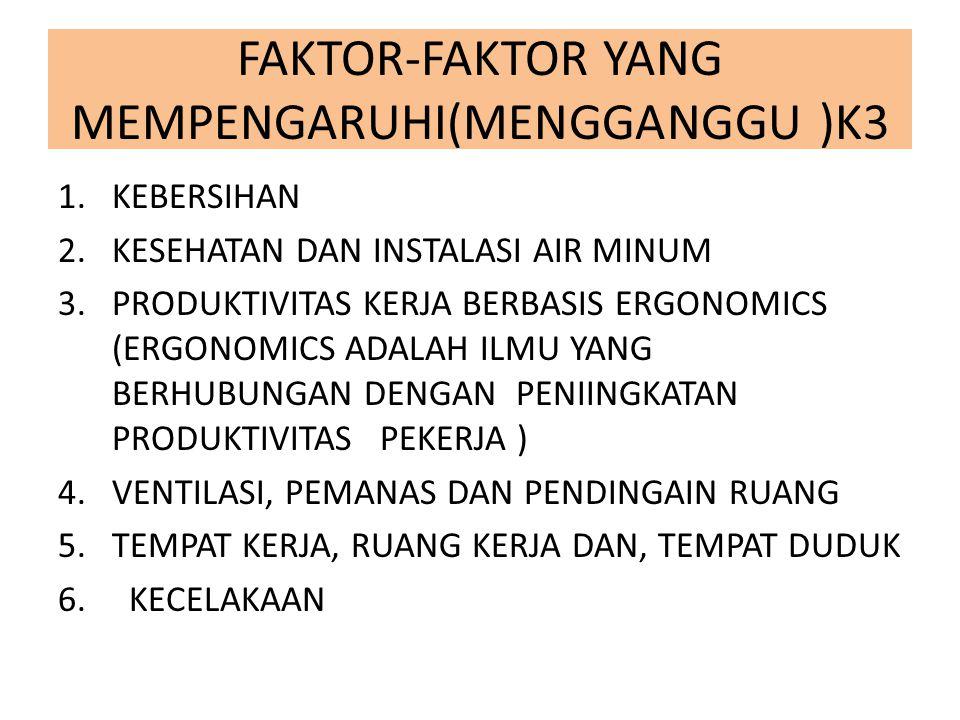 FAKTOR-FAKTOR YANG MEMPENGARUHI(MENGGANGGU )K3 1.KEBERSIHAN 2.KESEHATAN DAN INSTALASI AIR MINUM 3.PRODUKTIVITAS KERJA BERBASIS ERGONOMICS (ERGONOMICS