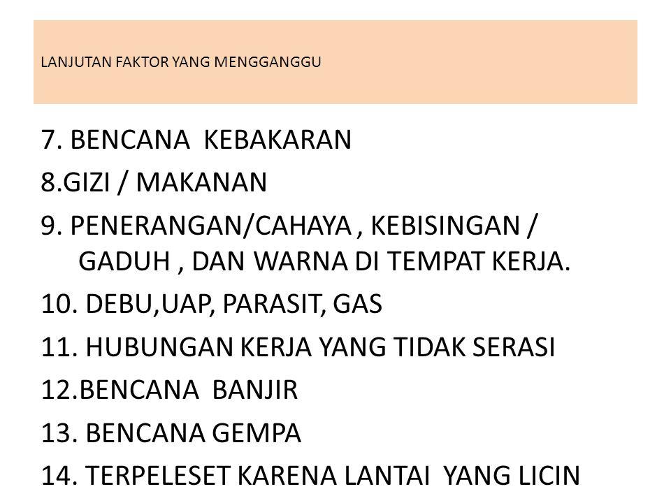 LANJUTAN FAKTOR YANG MENGGANGGU 7. BENCANA KEBAKARAN 8.GIZI / MAKANAN 9. PENERANGAN/CAHAYA, KEBISINGAN / GADUH, DAN WARNA DI TEMPAT KERJA. 10. DEBU,UA