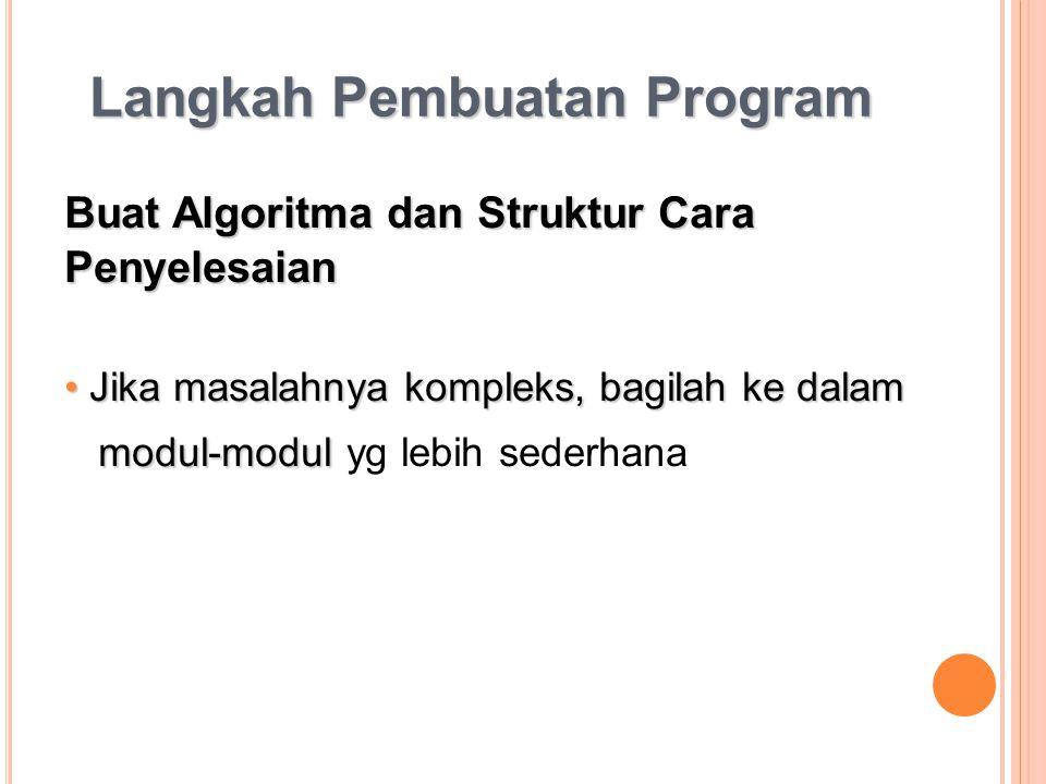 Langkah Pembuatan Program Buat Algoritma dan Struktur Cara Penyelesaian Jika masalahnya kompleks, bagilah ke dalam Jika masalahnya kompleks, bagilah k