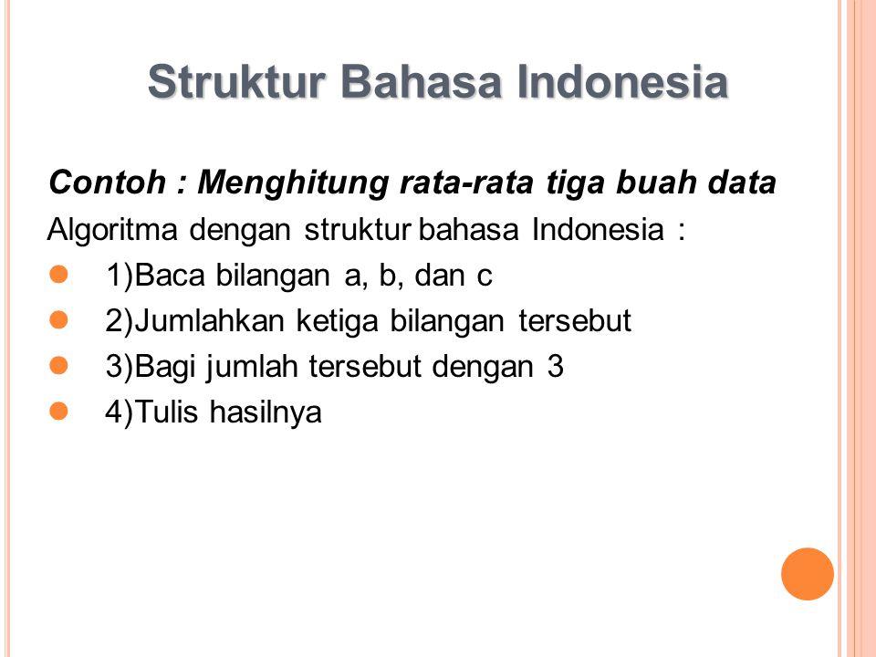 Struktur Bahasa Indonesia Contoh : Menghitung rata-rata tiga buah data Algoritma dengan struktur bahasa Indonesia : 1)Baca bilangan a, b, dan c 2)Juml