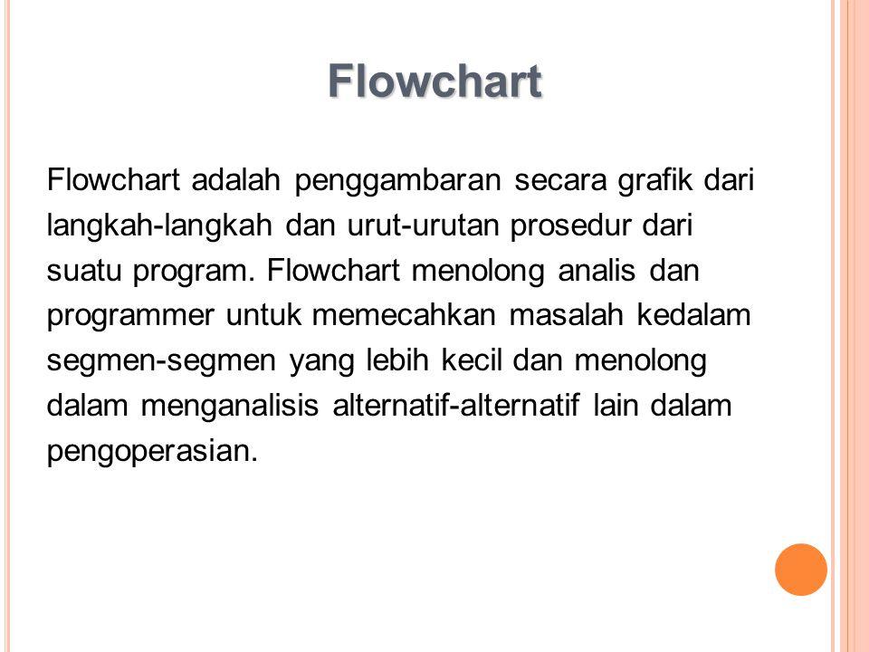 Flowchart Flowchart adalah penggambaran secara grafik dari langkah-langkah dan urut-urutan prosedur dari suatu program. Flowchart menolong analis dan