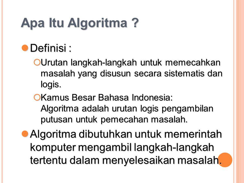 Apa Itu Algoritma ? Definisi : Definisi :  Urutan langkah-langkah untuk memecahkan masalah yang disusun secara sistematis dan logis.  Kamus Besar Ba