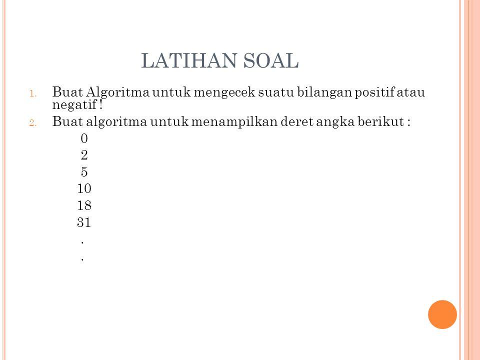LATIHAN SOAL 1. Buat Algoritma untuk mengecek suatu bilangan positif atau negatif ! 2. Buat algoritma untuk menampilkan deret angka berikut : 0 2 5 10