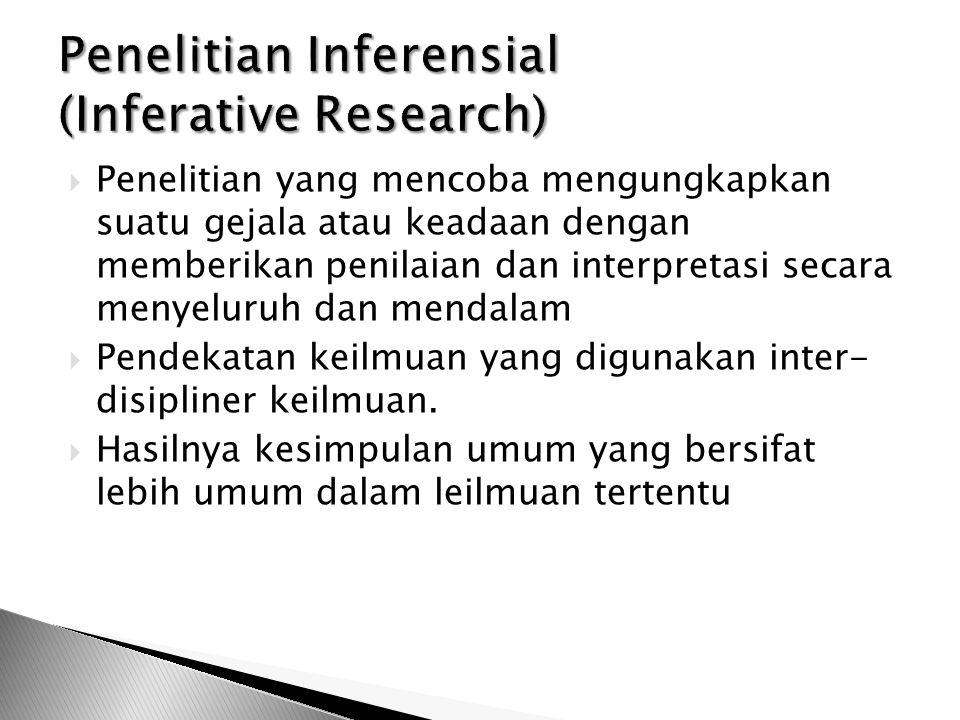  Penelitian yang mencoba mengungkapkan suatu gejala atau keadaan dengan memberikan penilaian dan interpretasi secara menyeluruh dan mendalam  Pendekatan keilmuan yang digunakan inter- disipliner keilmuan.