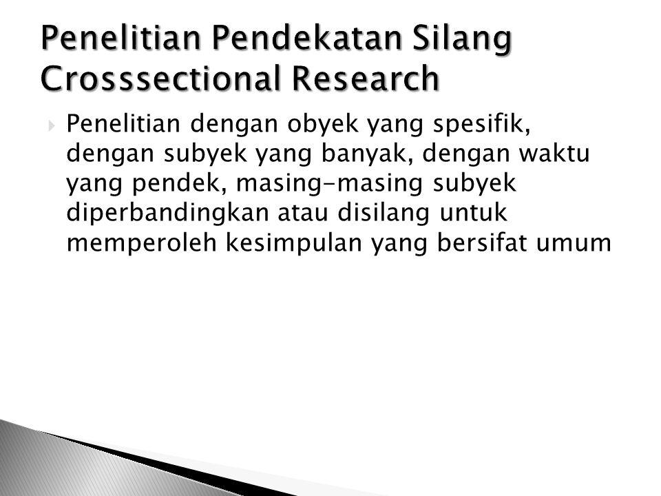  Penelitian dengan obyek yang spesifik, dengan subyek yang banyak, dengan waktu yang pendek, masing-masing subyek diperbandingkan atau disilang untuk
