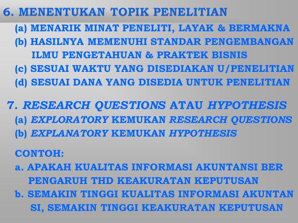 (a) MENARIK MINAT PENELITI, LAYAK & BERMAKNA (b) HASILNYA MEMENUHI STANDAR PENGEMBANGAN ILMU PENGETAHUAN & PRAKTEK BISNIS (c) SESUAI WAKTU YANG DISEDIAKAN U/PENELITIAN (d) SESUAI DANA YANG DISEDIA UNTUK PENELITIAN 7.