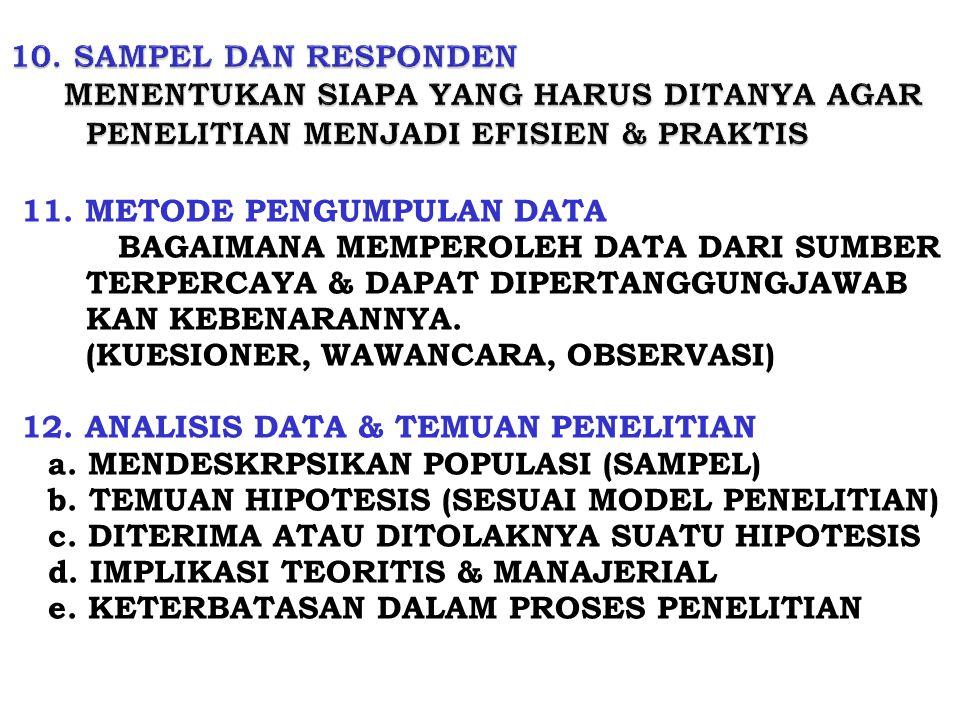 11. METODE PENGUMPULAN DATA BAGAIMANA MEMPEROLEH DATA DARI SUMBER TERPERCAYA & DAPAT DIPERTANGGUNGJAWAB KAN KEBENARANNYA. (KUESIONER, WAWANCARA, OBSER