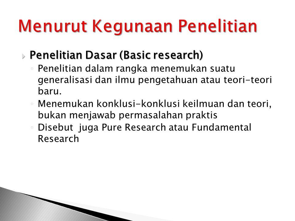  Penelitian Dasar (Basic research) ◦ Penelitian dalam rangka menemukan suatu generalisasi dan ilmu pengetahuan atau teori-teori baru.