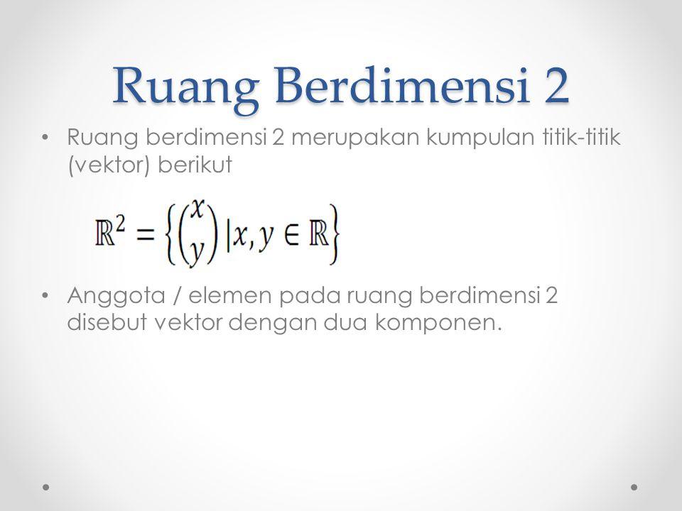 Ruang Berdimensi 2 Ruang berdimensi 2 merupakan kumpulan titik-titik (vektor) berikut Anggota / elemen pada ruang berdimensi 2 disebut vektor dengan dua komponen.