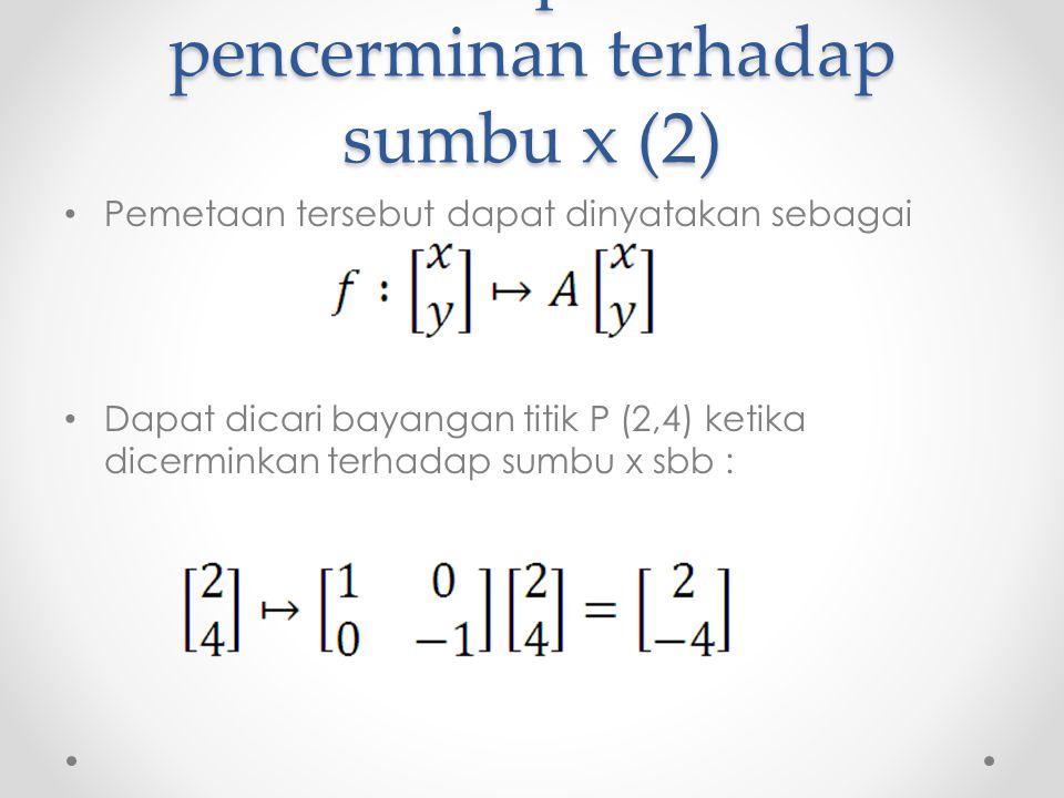 Matriks representasi pencerminan terhadap sumbu x (2) Pemetaan tersebut dapat dinyatakan sebagai Dapat dicari bayangan titik P (2,4) ketika dicerminkan terhadap sumbu x sbb :