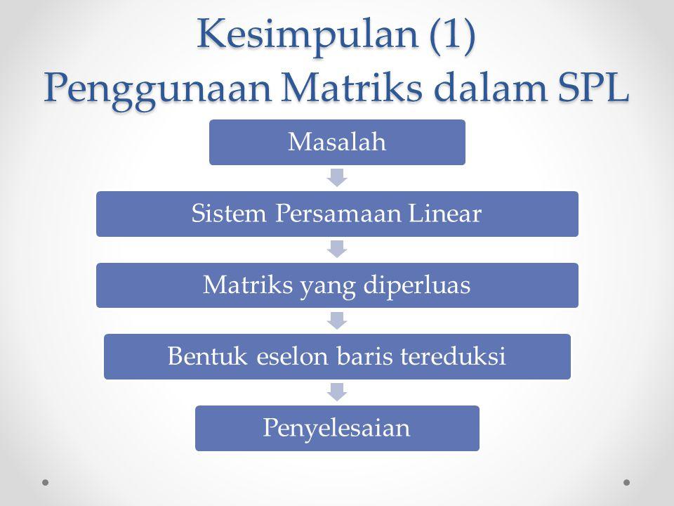 Kesimpulan (1) Penggunaan Matriks dalam SPL MasalahSistem Persamaan LinearMatriks yang diperluasBentuk eselon baris tereduksiPenyelesaian