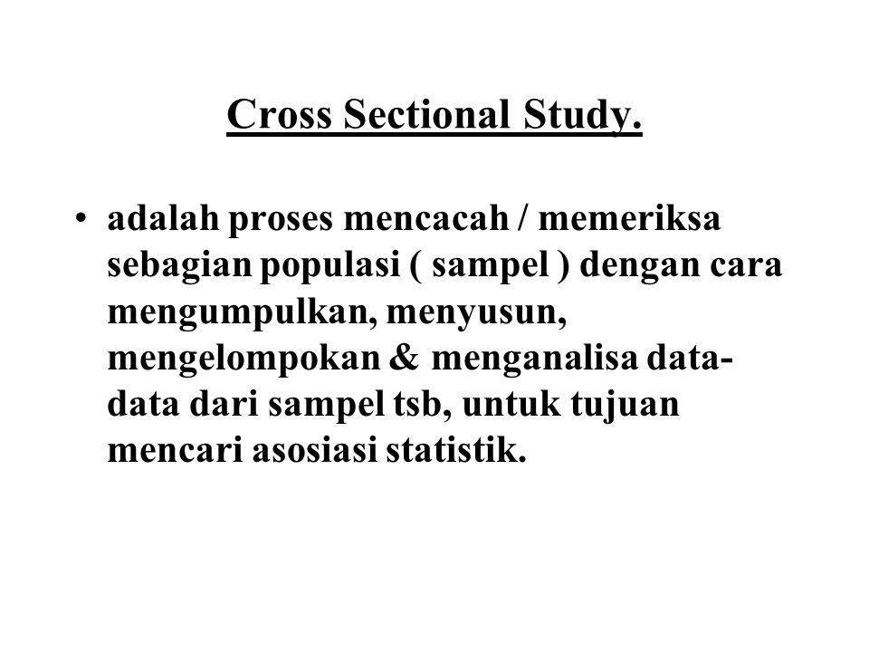 Cross Sectional Study.