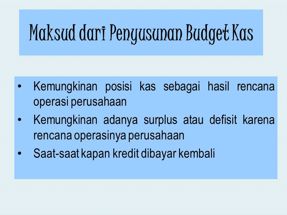 Maksud dari Penyusunan Budget Kas Kemungkinan posisi kas sebagai hasil rencana operasi perusahaan Kemungkinan adanya surplus atau defisit karena rencana operasinya perusahaan Saat-saat kapan kredit dibayar kembali