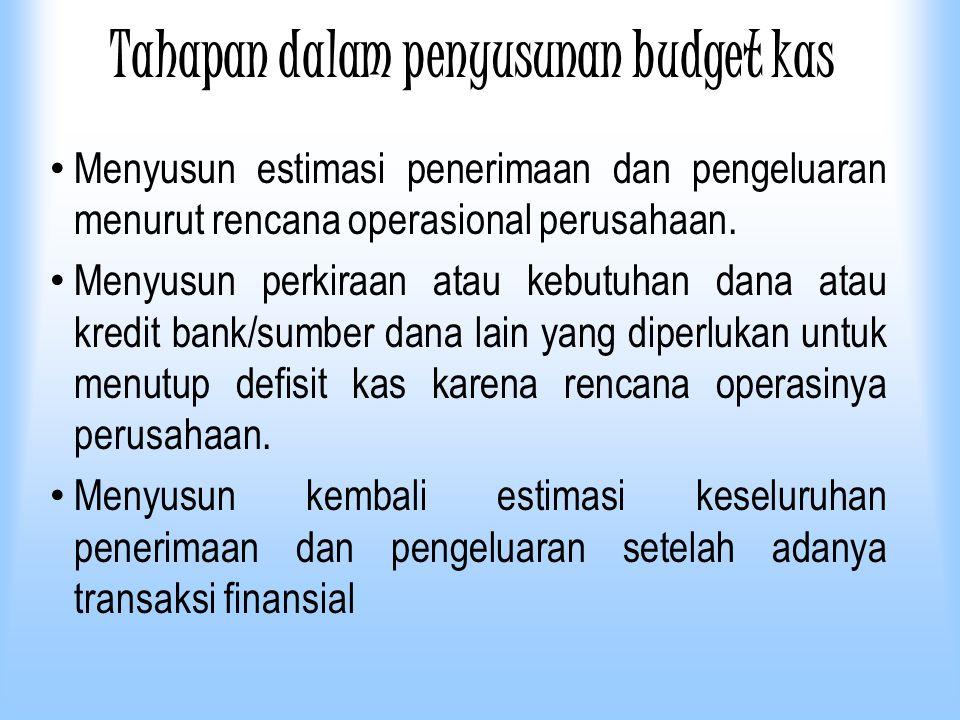 Tahapan dalam penyusunan budget kas Menyusun estimasi penerimaan dan pengeluaran menurut rencana operasional perusahaan. Menyusun perkiraan atau kebut