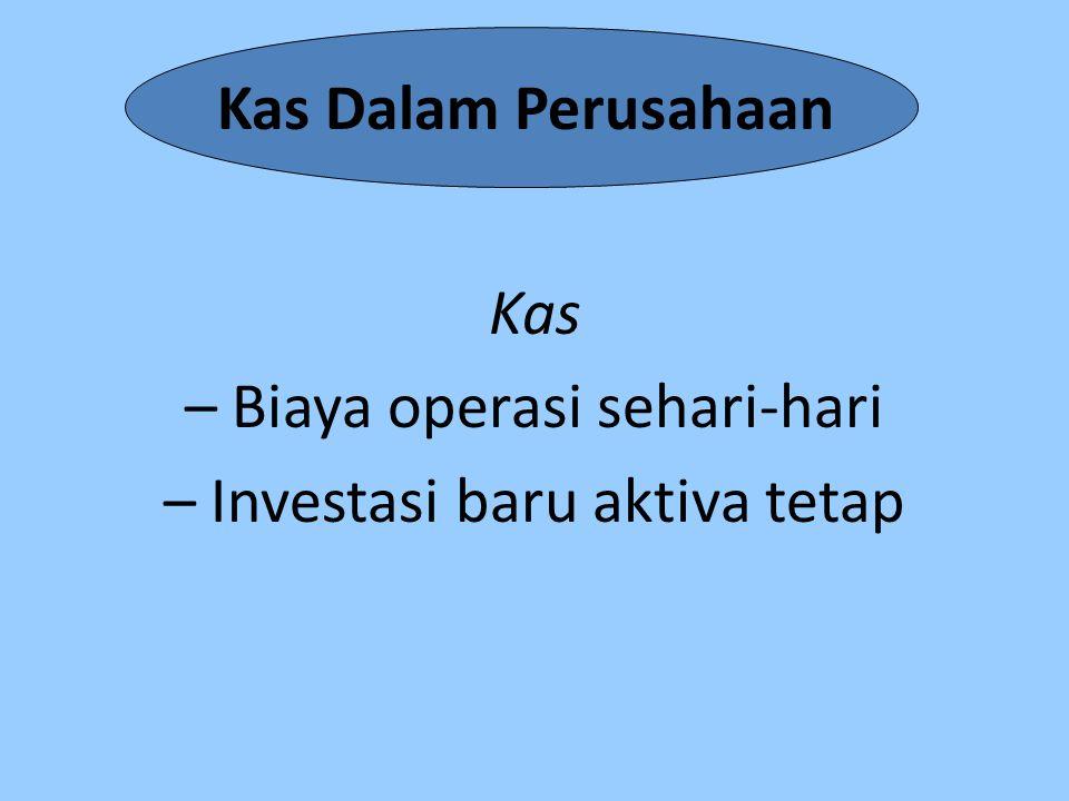 Kas Dalam Perusahaan Kas – Biaya operasi sehari-hari – Investasi baru aktiva tetap