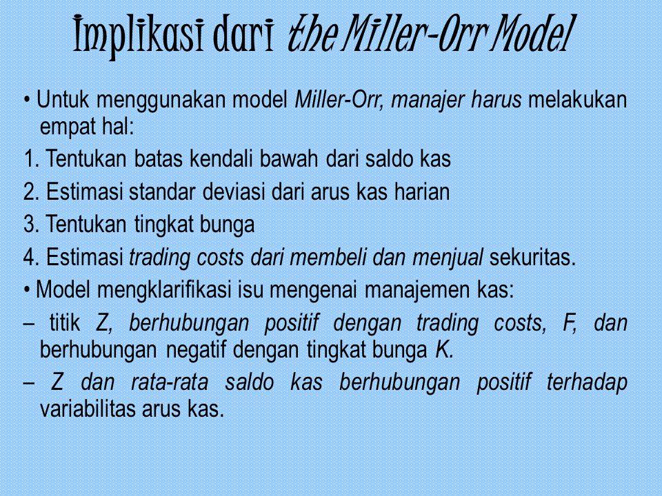 Implikasi dari the Miller-Orr Model Untuk menggunakan model Miller-Orr, manajer harus melakukan empat hal: 1. Tentukan batas kendali bawah dari saldo