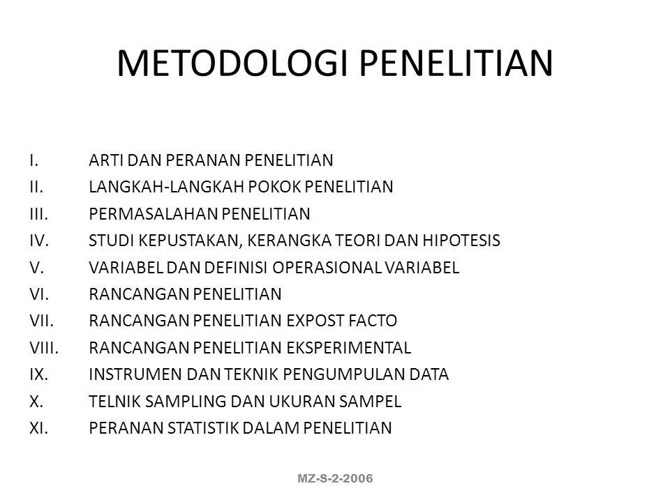 METODOLOGI PENELITIAN Prof. Dr. Muhamad Zainuddin, Apt MZ-S-2-2006