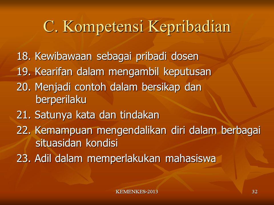 C.Kompetensi Kepribadian 18. Kewibawaan sebagai pribadi dosen 19.