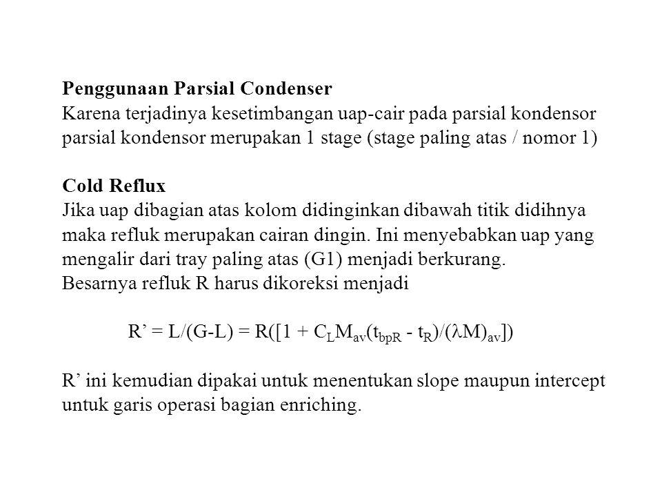 Penggunaan Parsial Condenser Karena terjadinya kesetimbangan uap-cair pada parsial kondensor parsial kondensor merupakan 1 stage (stage paling atas /